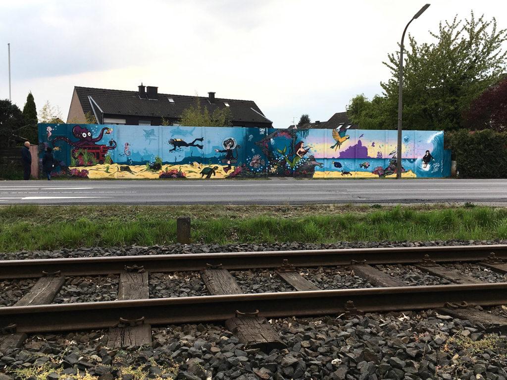 Unterwasserwelt Streetart an der Schallmauer in Mondorf