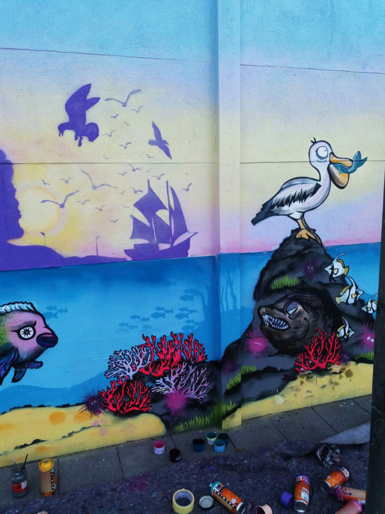 neonfärbende Korallen Streetart
