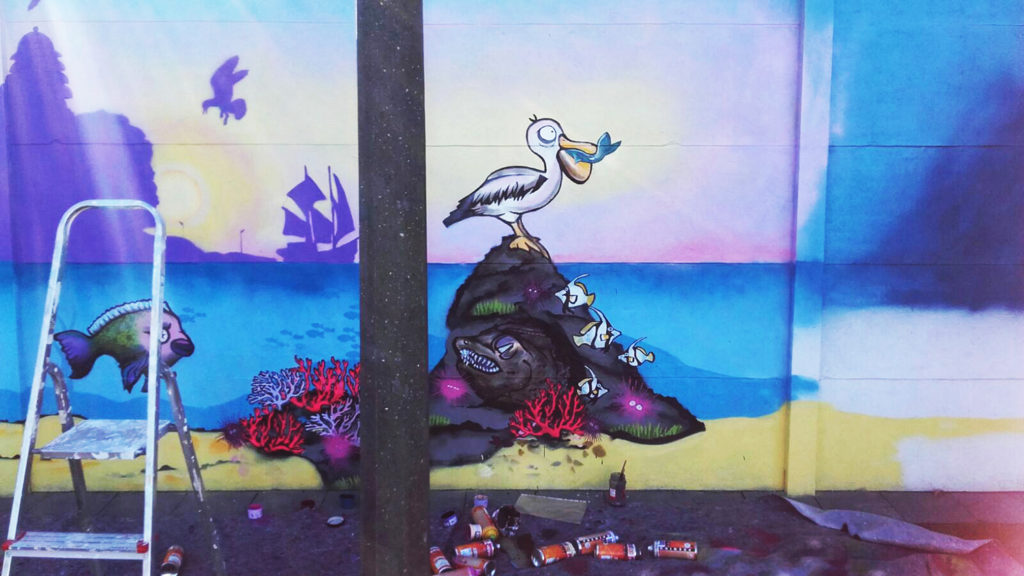 Pelikan in Progress Streetart
